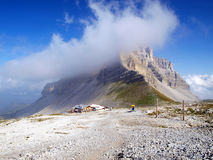 Final gondola lift pass Groste and shelter and Mount Groste a cloud band in the Brenta Dolomites Stock Photos