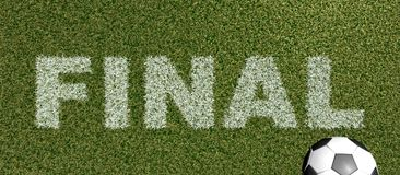 FINAL - gräsbokstäver på tolkning för fotboll field-3D Royaltyfri Foto