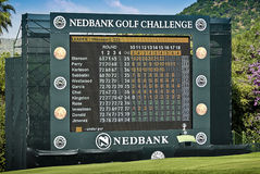 Final Hole Scoreboard - Nedbank Golf Challenge. Electronic scoreboard / television set for spectators to view events around the rest of the course Royalty Free Stock Image