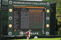 Final Hole Scoreboard - Nedbank Golf Challenge. Electronic scoreboard / television set for spectators to view events around the rest of the course Stock Photos
