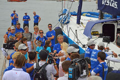 Final Hugs Before Departure - Goodbye Sailing Yacht Race Stock Photography