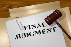 Final Judgment - legal concept. 3D illustration of FINAL JUDGMENT title on legal document Royalty Free Stock Photography