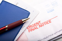 Final notice. Close up of a mail labeled Final notice. Concept of home finance Royalty Free Stock Photos
