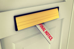 Final notice against letter through post box. The word final notice against letter through post box Stock Photos