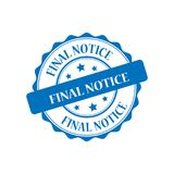 Final notice stamp illustration. Final notice blue stamp seal illustration design Royalty Free Stock Photos