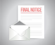 Final notice documents illustration. Design over a white background Royalty Free Stock Photos