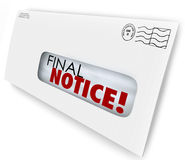 Final Notice Envelope Bill Invoice Past Due Pay Now. Final Notice words on a bill or invoice that is overdue or an account being closed, cancelled or terminated Stock Photos