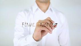 Final Notice, Man Writing on Glass stock photos
