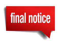 Final notice red paper speech bubble. Final notice red 3d realistic paper speech bubble Royalty Free Stock Photos
