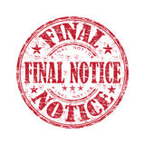 Final notice rubber stamp. Red grunge rubber stamp with the text final notice written inside the stamp Stock Image