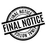 Final Notice rubber stamp. Grunge design with dust scratches. Effects can be easily removed for a clean, crisp look. Color is easily changed Stock Image