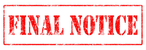 Final Notice  - Rubber Stamp Stock Image