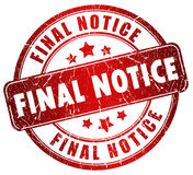 Final notice stamp. Isolated over white Stock Photos