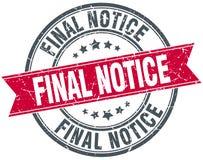 Final notice stamp. Final notice round grunge vintage ribbon stamp. final notice Stock Photo