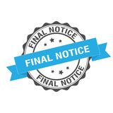 Final notice stamp illustration. Final notice stamp seal illustration design Royalty Free Stock Images