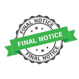 Final notice stamp illustration. Final notice stamp seal illustration design Royalty Free Stock Photo