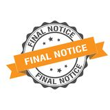 Final notice stamp illustration. Final notice stamp seal illustration design Stock Image