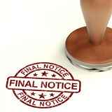 Final Notice Stamp Showing Outstanding Payment Due. Final Notice Stamp Shows Outstanding Payment Due Royalty Free Stock Images