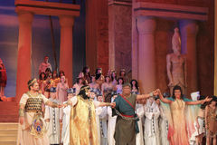 A final of the opera Aida. DONETSK, UKRAINE - NOVEMBER 4, 2010: A final of the opera Aida on November 4, 2010 in Donetsk National Academic Opera and Ballet Royalty Free Stock Photo