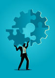 Final peace of puzzle. Business concept illustration of a man holding on his shoulder the final peace of puzzle which forming a gear, business, complete Stock Photo