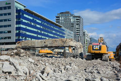 The final phase of the demolition of the Bonaventure Expressway Royalty Free Stock Photo