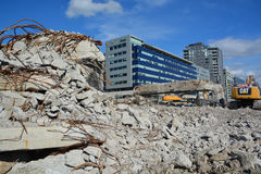The final phase of the demolition of the Bonaventure Expressway Stock Photo