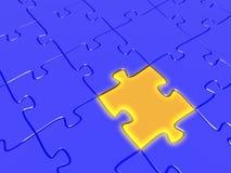 The final piece. Quality 3D render of a golden puzzle piece acting as the final piece of a jigsaw puzlle. Conceptual business idea Stock Photos
