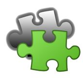Final piece of eco jigsaw. Final piece of green eco jigsaw, isolated on white background Stock Photo