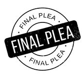 Final Plea rubber stamp. Grunge design with dust scratches. Effects can be easily removed for a clean, crisp look. Color is easily changed Royalty Free Stock Image