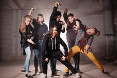 Final pose of young people in dancing performance royalty free stock photos