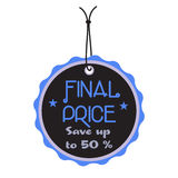 Final price tag. Isolated black tag with the text final price written on the tag Stock Image