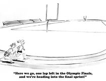 Final Race Lap. Sports cartoon about getting more energy in the final lap of the race Stock Image