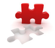 Final red puzzle piece. This is a computer generated and 3d rendered picture Royalty Free Stock Photo