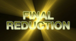 FINAL REDUCTION banner golden light flare. Final reduction promotional banner in gold with percentage sign behind. Creative discount graphic design Stock Photography