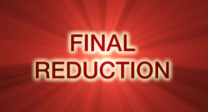 Final reduction sale banner red flare. Final reduction promotional slogan with glowing red light flares background. Special orders welcome Stock Photo