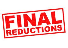 FINAL REDUCTIONS. Red Rubber Stamp over a white background stock illustration