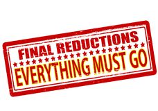 Final reductions. Rubber stamp with text final reductions inside,  illustration Royalty Free Stock Image
