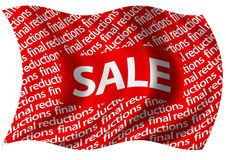 Final Reductions Sale Flag. Final reducations sale flag billowing gently in the breeze Stock Photo