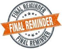 Final reminder stamp. Final reminder round grunge vintage ribbon stamp. final reminder Stock Images