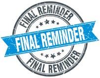 Final reminder stamp. Final reminder round grunge vintage ribbon stamp. final reminder Royalty Free Stock Images