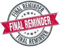 Final reminder stamp. Final reminder round grunge vintage ribbon stamp. final reminder Stock Photo