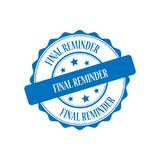 Final reminder stamp illustration. Final reminder blue stamp seal illustration design Stock Photo