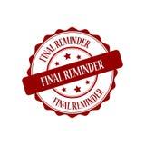 Final reminder stamp illustration. Final reminder stamp seal illustration design Royalty Free Stock Image