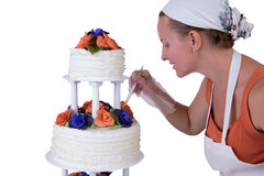 Final Retouching Ruffled Wedding Cake Royalty Free Stock Photo