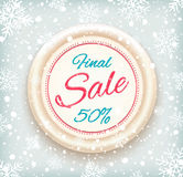 Final sale background on round banner and snow Stock Photography
