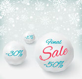 Final sale background with snowballs and snow. Sale. Winter sale. Christmas sale. New year sale. Vector illustration Stock Photography