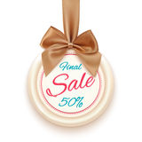 Final sale badge with golden ribbon and a bow. Isolated on white background. Sale. Winter sale. Christmas sale. New year sale. Vector illustration Royalty Free Stock Photo