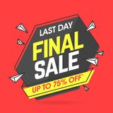 Final Sale banner. Template in flat trendy memphis geometric style, retro 80s - 90s paper style poster, placard, web banner design Royalty Free Stock Photo