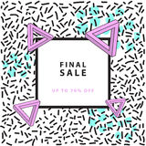 Final sale banner. Square. Memphis style. Vector illustration. Simple forms. holographic elements Stock Image