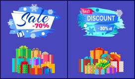 Final Sale Best Discount - 30 Off Pile of Presents. Final sale - 70 best discount - 30 off pile of presents in decorative wrapping paper isolated on blue vector Stock Images